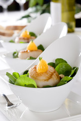 salads with pan seared scallops and orange.