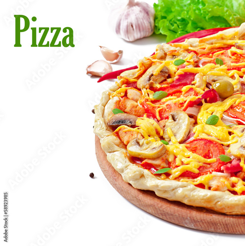 Appetizing pizza with ham and mushrooms isolated on white
