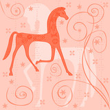 cheval style étrusque trotte composition orange