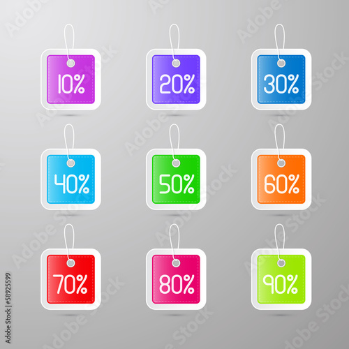 colorful vector discount tags, labels