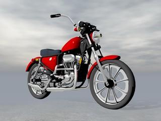 Red motorbike - 3D render