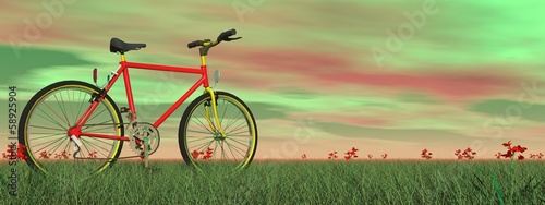 Mountain bike in nature - 3D render