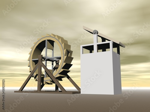 Tread-wheel machine-gun, L. da Vinci - 3D render