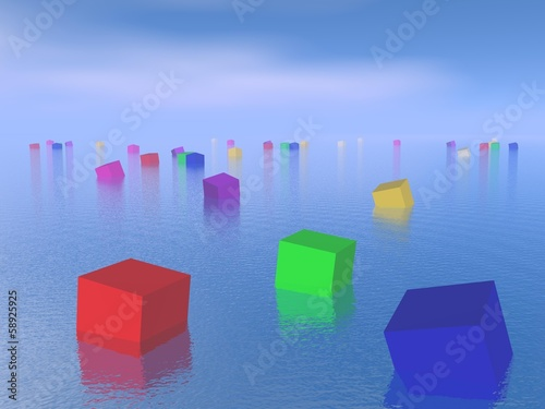 Colorful cubes floating - 3D render