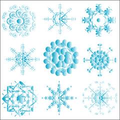blue snowflakes on white winter