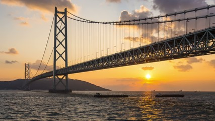Akashi Bridge Spans the Seto Inland Sea in Japan