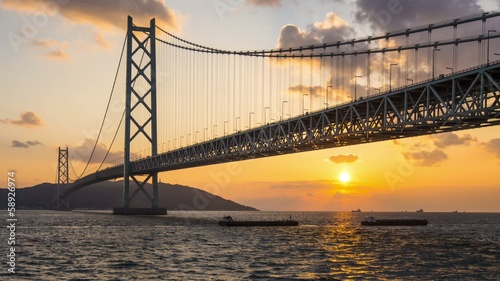 Akashi Bridge Spans the Seto Inland Sea in Japan