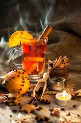 Hot wine for Christmas with delicious orange and spice