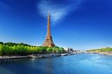 Fototapeta Seine in Paris with Eiffel tower in sunrise time