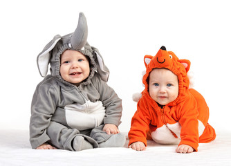 Two baby boys dressed in animal costumes over white