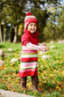 funny toddler wearing warm clothing