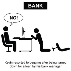 Kevin resorted to begging for a loan