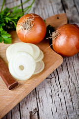 fresh onions, knife, and parsley