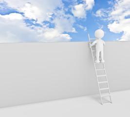 omino bianco che guarda oltre il muro