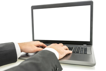 Typing on laptop computer