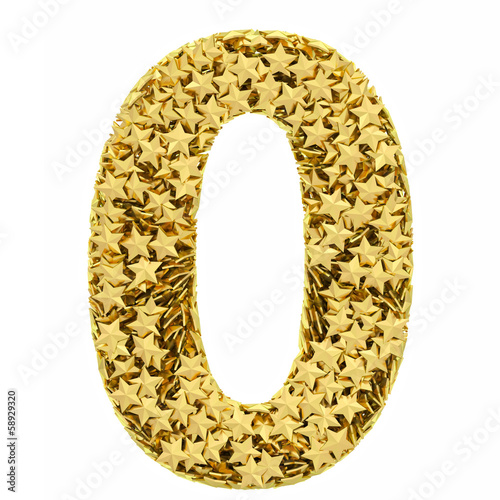 Number 0 composed of golden stars isolated on white
