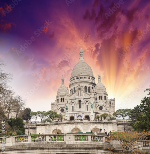 Paris. Beautiful view of Sacred Heart Cathedral in Montmartre