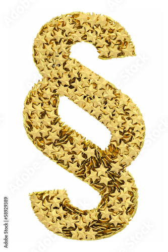Section sign composed of golden stars isolated on white