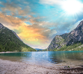 Beautiful lake with crystal clear waters and mountains