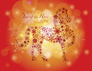 2014 Happy New Year of the Horse with Snowflakes Pattern