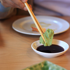 Wasabi and soy sauce