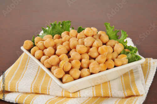 Garbanzo beans in a small bowl