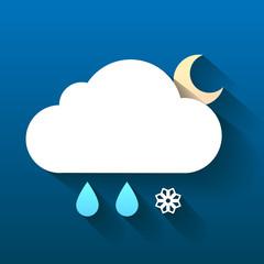 Night cloud, snow flake and rain drops isolated on dark