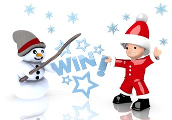 win symbol presented by snowman and Santa claus