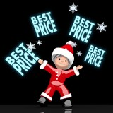santa claus juggles glaring best price sign