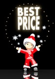 santa claus under a glaring best price symbol