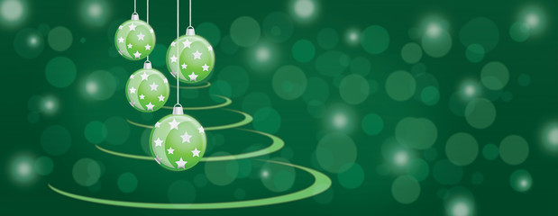 Green bauble balls christmas panorama background