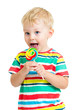 child boy with lollipop isolated