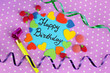 """Card """"Happy Birthday"""" surrounded by festive elements"""