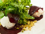 Marinated beetroot stuffed with whipped goat cheese