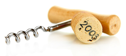 Wine cork with corkscrew isolated on white