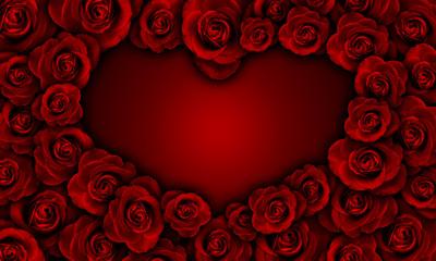 red roses making heart shape, valentine
