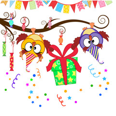 funny owls give a gift
