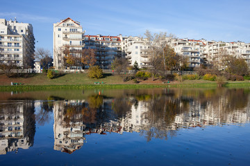 Apartment Houses by the Lake in Warsaw