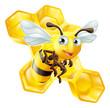 Obrazy na płótnie, fototapety, zdjęcia, fotoobrazy drukowane : Cartoon Bee and Honey Comb