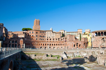 Trajan's Forum and Casa dei cavalieri di Rodi. Rome, Italy