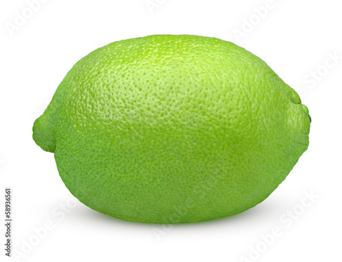 Single lime fruit isolated on white background