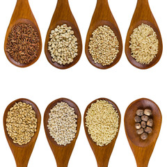 collection of grains in wooden spoon