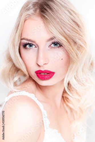 glamor portrait of beautiful sexy blonde  with red lips
