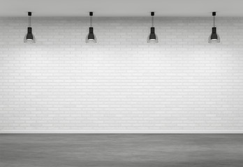 Empty interior with four lamps
