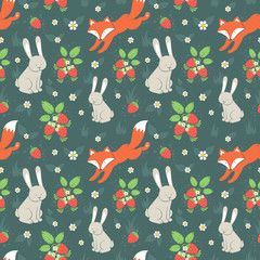 Rabbits and fox with seamless pattern