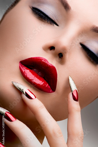 Fashion Beauty Model Girl. Manicure and Make-up