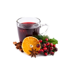 Christmas mulled wine isolated on white