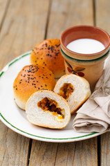 Bread Rolls Filled with Pumpkin and Feta with a Cup of Milk