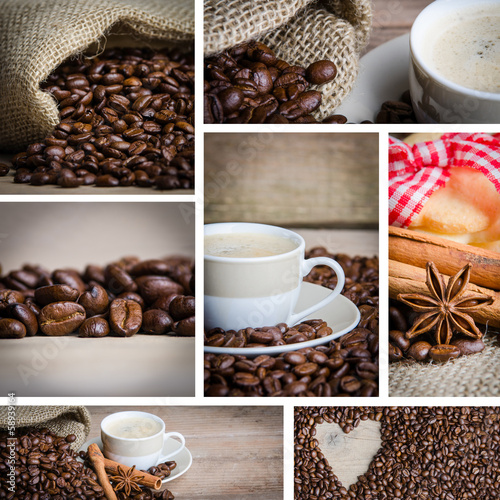 collage aus kaffeebildern