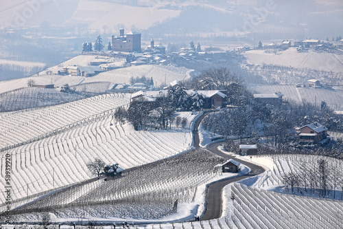 Road through wintry hills and vineyards in Italy.